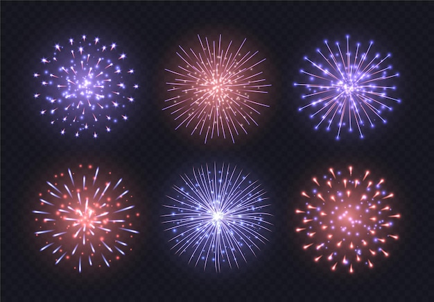 Red-blue fireworks collection, realistic firecracker explosions set isolated on a dark transparent background. festive independence day pyrotechnic show.