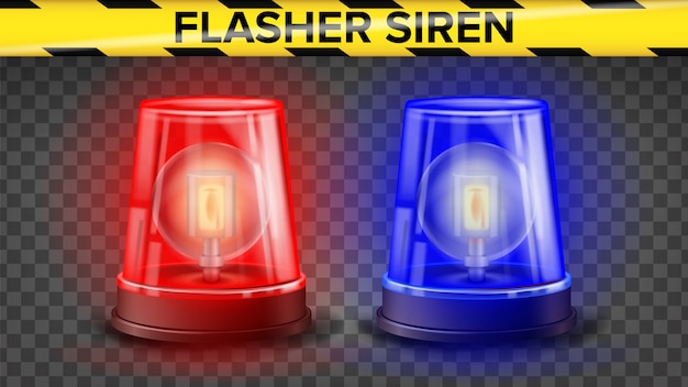 Red and blue flasher siren