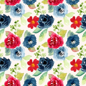 Red blue flower watercolor seamless pattern
