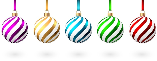 Red blue green golden purple  christmas  balls  with pattern  isolated on white background