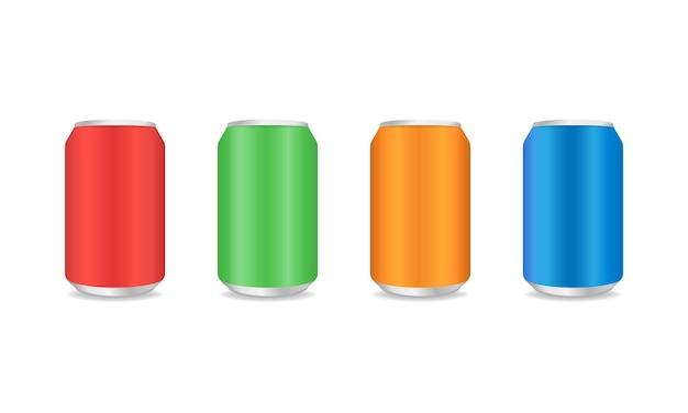 Red blue green and orange aluminum can. metal drink can in realistic style. vector illustration eps 10