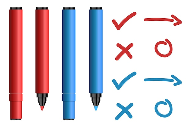 Red and blue marker pens with tick and cross sign