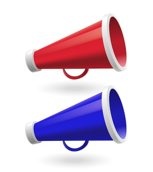 Red and blue megaphones isolated