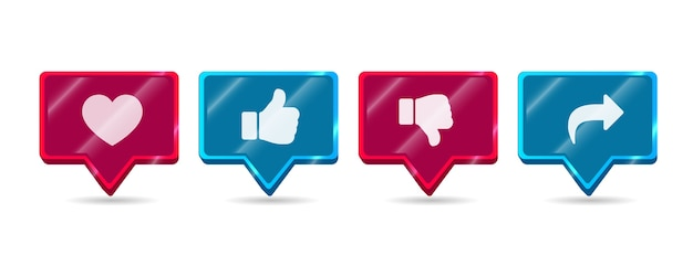 Red and blue modern round shiny  like dislike share subscribe social media network icon button set