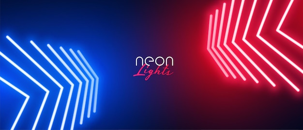 Red and blue neon arrow wide background