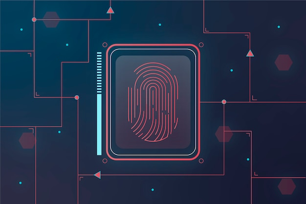 Red and blue neon fingerprint background