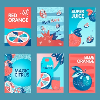 Red and blue orange posters set. whole and cut fruits, splashes, citrus juice pack vector illustrations with text. food and drink concept for packs or flyers design