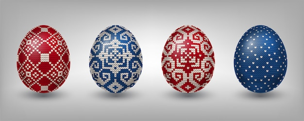 Red and blue paschal eggs with knitting patterns