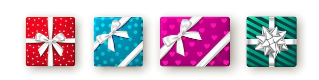 Red blue pink and green gift box with ribbon and bow top view christmas  package design