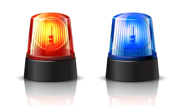 Red and blue police car top light glowing