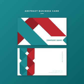 Red blue shapes business card template