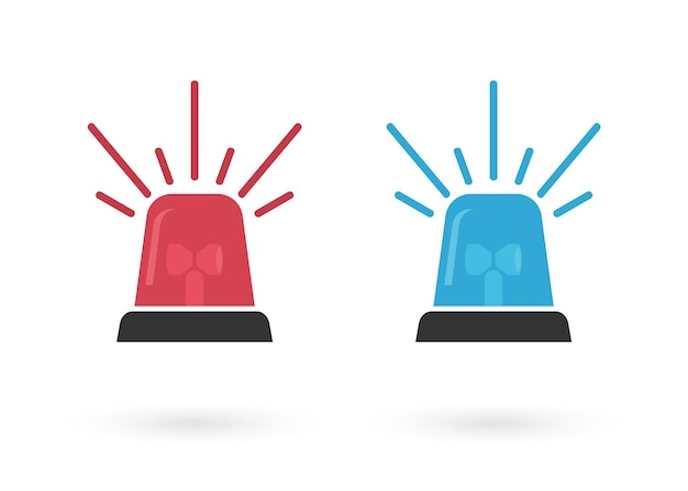 Red and blue sign siren vector set. flasher icon