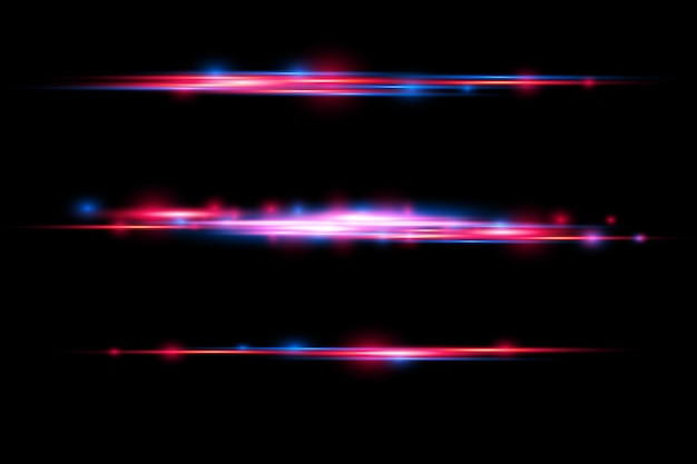 Red blue special effect laser beams horizontal light rays motion magic of moving fast lines