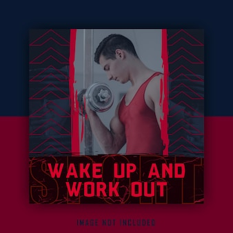Red blue sport work out sporty social media template post