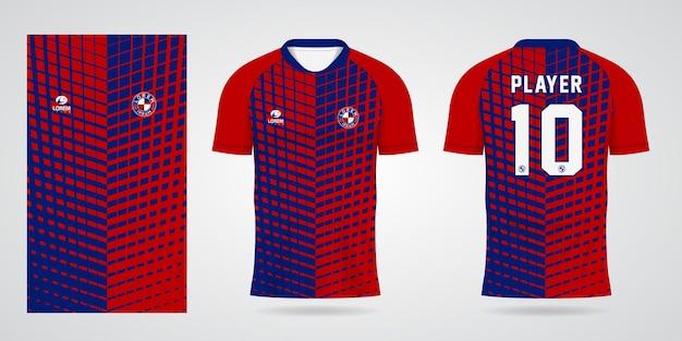 팀 유니폼 및 축구 티셔츠 디자인을 위한 빨간색 파란색 스포츠 저지 템플릿