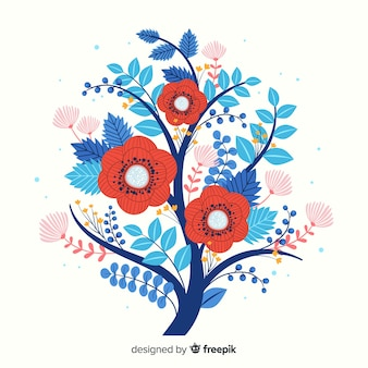 Red and blue spring flowers in flat design