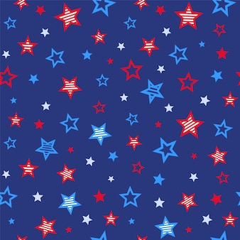Red and blue stars patriotic united states seamless pattern on blue background