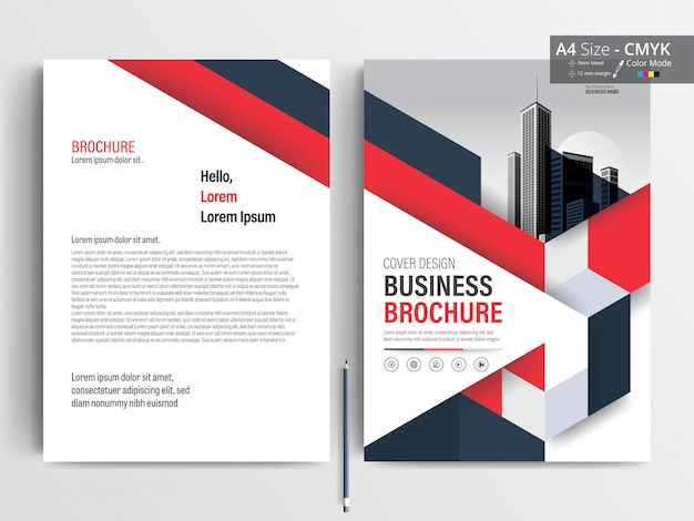 Red and blue triangle  business brochure layout template