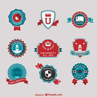 Red and blue university logos