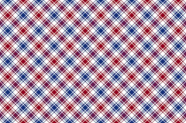 赤青白斜めチェックテクスチャのシームレスなパターン背景