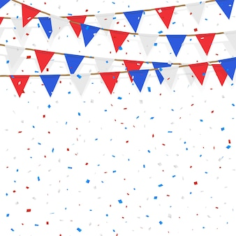 Red blue white flag decorated on  white background