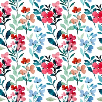 Red blue wildflower watercolor seamless pattern