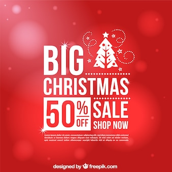 Red bokeh background of christmas sales