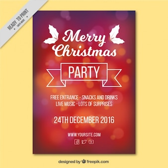 Red bokeh christmas party brochure