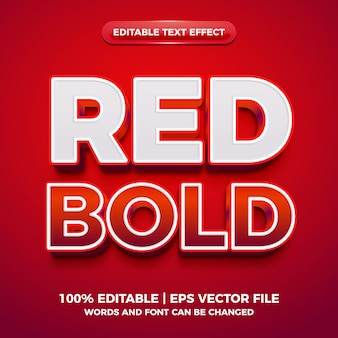 Red bold 3d editable text effect
