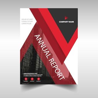 연례 보고서에 대 한 빨간 책 표지 템플릿