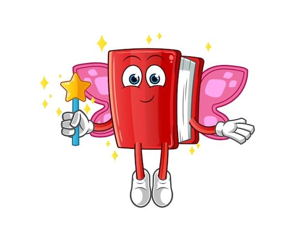 翼とスティックキャラクターのマスコットと赤い本の妖精