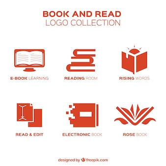 Red book logos in flat design