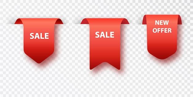 Vendita di tag segnalibro rosso isolato su sfondo trasparente. distintivi ed etichette di vettore isolati.
