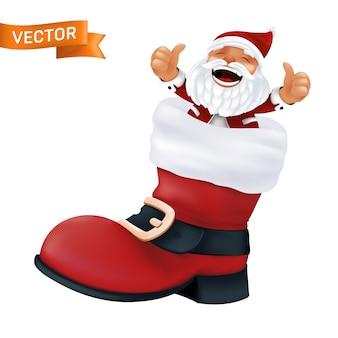白い毛皮と金色のバックルが付いた黒いベルトが付いたサンタクロースの赤いブーツ。面白いキャラクターと白い背景で隔離のクリスマスの靴のリアルなイラスト