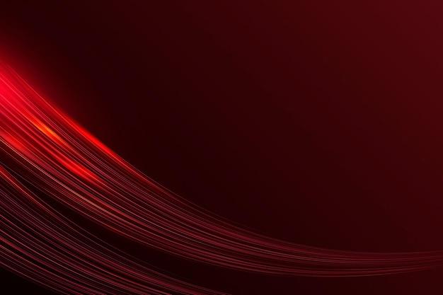 Bordo rosso vettoriale che scorre sullo sfondo dell'onda al neon
