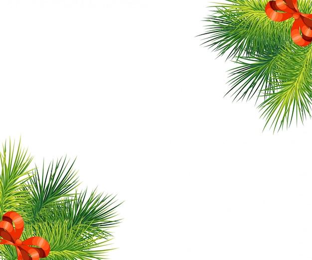 赤い弓とクリスマスツリーの枝。正月とクリスマスの装飾。白い背景の上の図。コーナーで