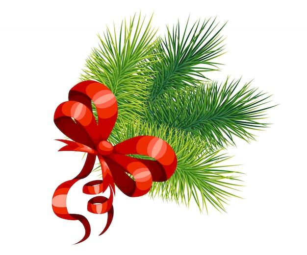 赤い弓とクリスマスツリーの枝。正月とクリスマスの装飾。白い背景の上の図。