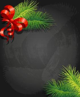 赤い弓と枝のクリスマスツリーの影。正月とクリスマスの装飾。背景のイラスト。コーナーで