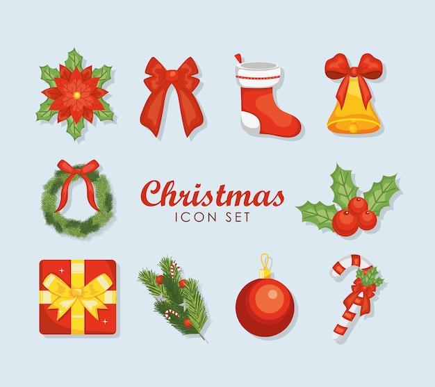 赤い弓と青い背景の上に設定されたクリスマスアイコン