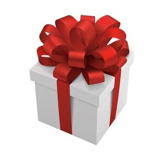 붉은 나비와 선물 상자 프리미엄 벡터