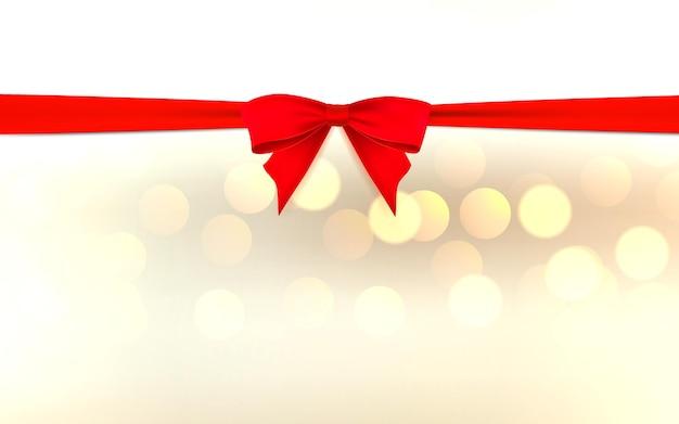 ギフトカードの装飾のためのきらめきベクトルデザインテンプレートと水平方向の白いページに赤い弓とリボン