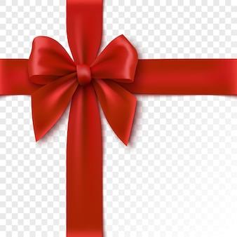 赤い弓はギフトボックスの図のためのお祝いの包装の現実的なリボンを分離