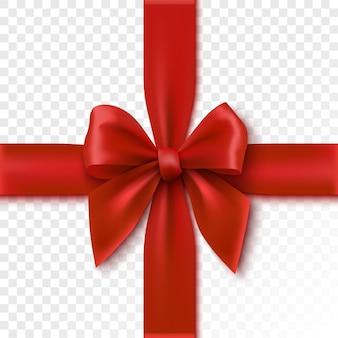 赤い弓は、ギフトボックスの図のお祝いの包装リボンを分離しました