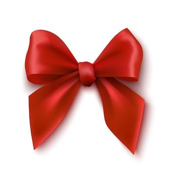 白い背景の上の赤い弓リアルなリボンの図