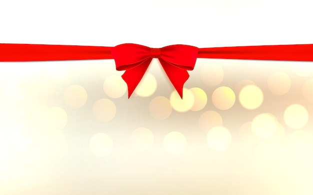 Red bow and ribbon on horizontal white page with sparkles vector design template for gift card decor