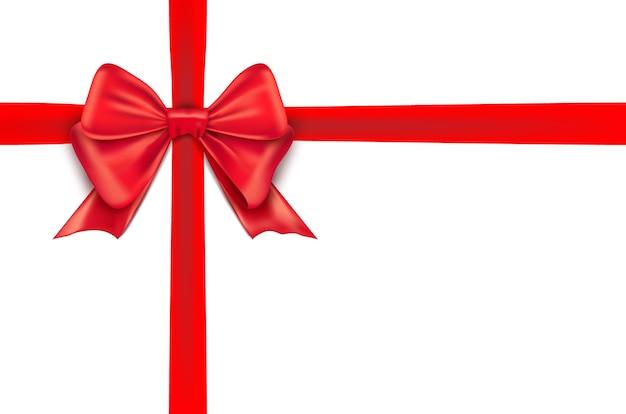 흰색 바탕에 붉은 나비 리본. 휴가위한 붉은 나비 절연 된 선물 장식입니다.