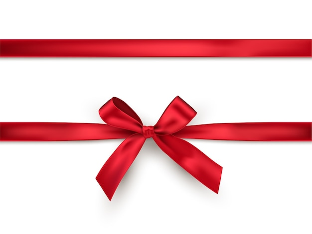 Red bow and ribbon, realistic design element