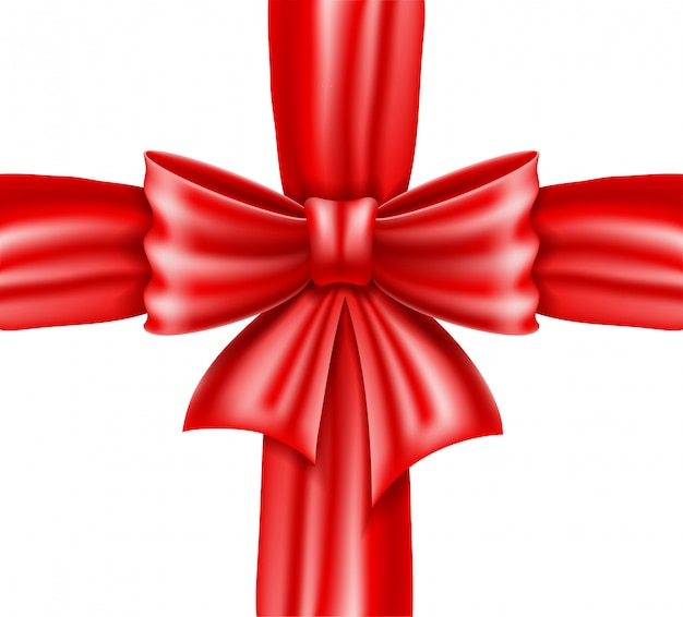 Red bow and ribbon realistic vector illustration