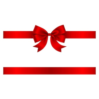 Red bow and ribbon vector bow with ribbon for christmas and birthday decorations