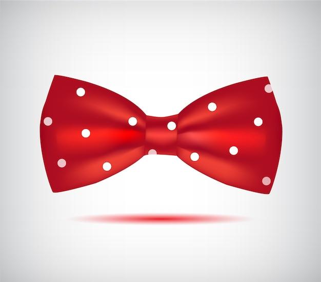 Красный галстук-бабочка значок на белом фоне